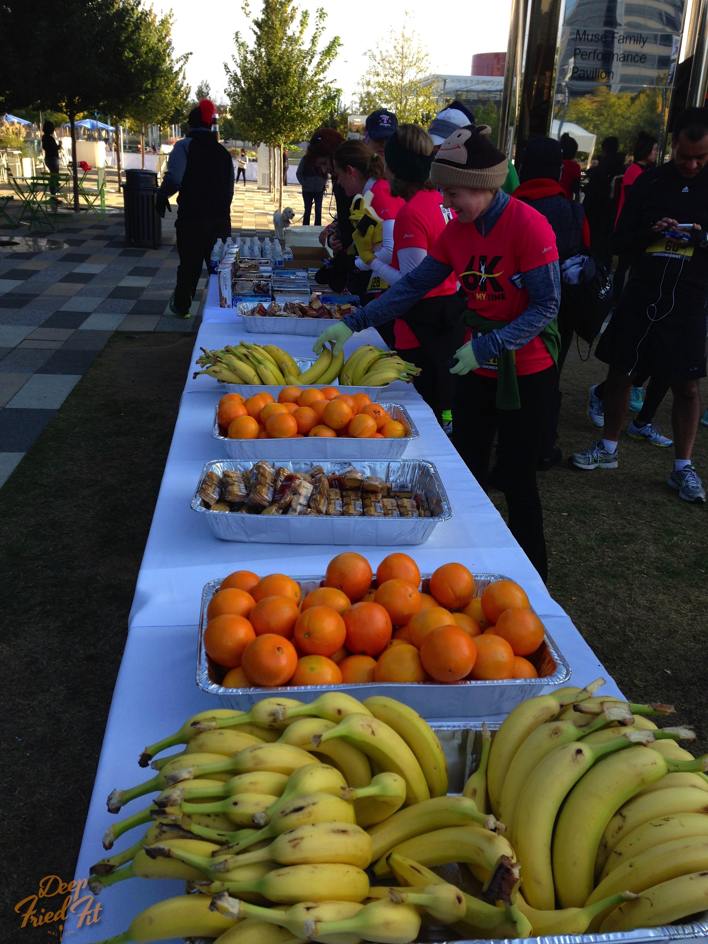 Time to refuel with oranges, bananas, quest bars, and hot chocolate!